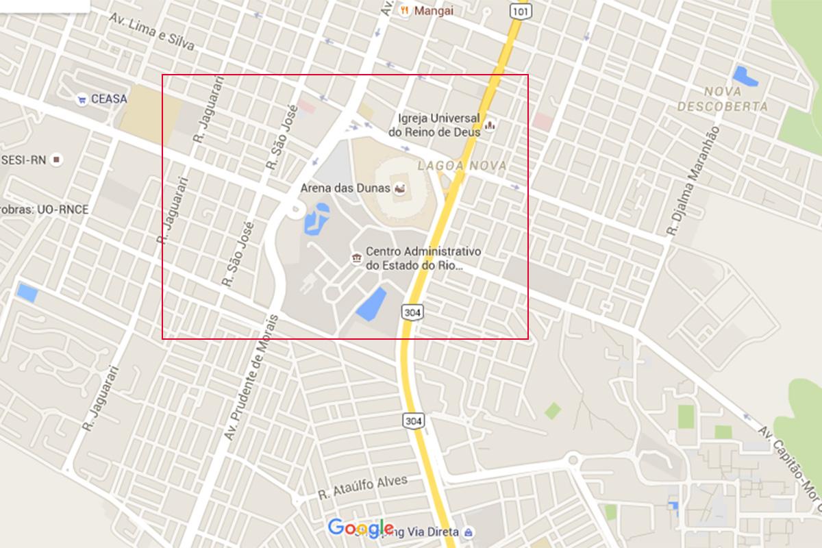 O mapa mostra como se fosse uma avenida só