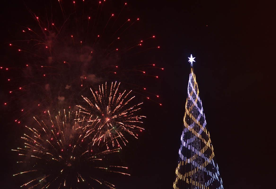 Brechando a árvore de Natal ser acesa: clima natalino chegou